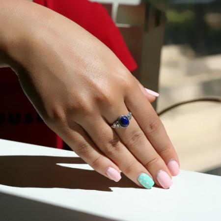 inel de argint cu lapis lazuli
