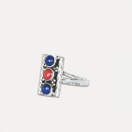 Inel de argint cu lapis lazuli si coral