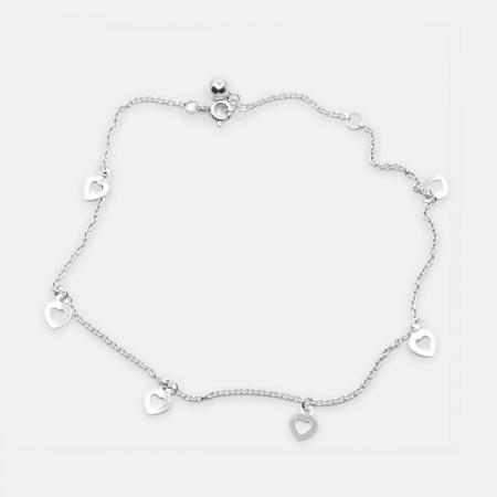 bratara de argint pentru glezna cu inimi