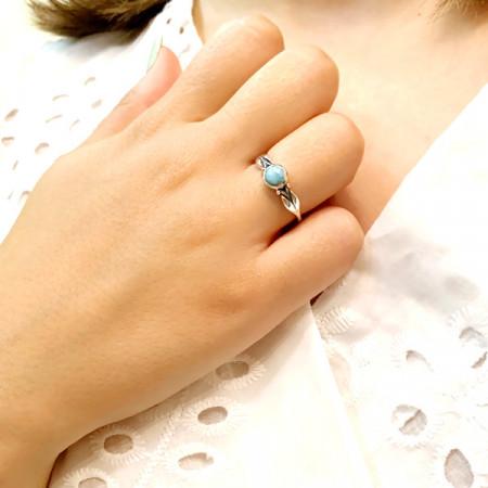 inel argint cu larimar