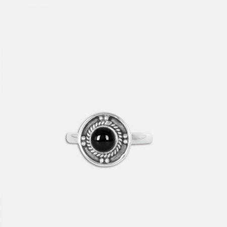 inel de argint cu onix negru