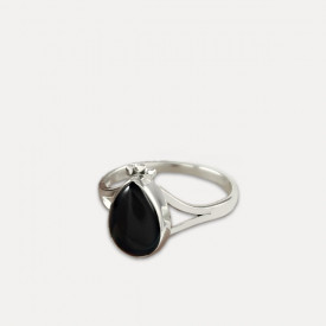 Inel de argint cu onix negru Tībra