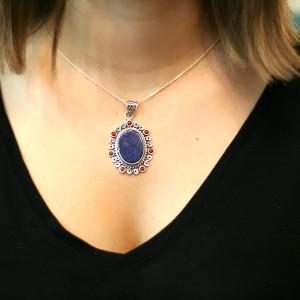 Pandantiv de argint cu lapis lazuli și coral India