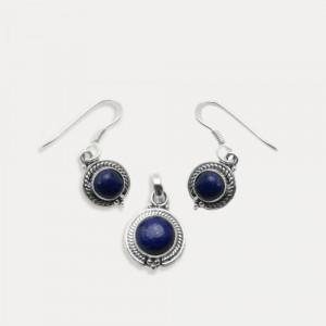 Set cercei si pandantiv de argint cu lapis lazuli Amandi