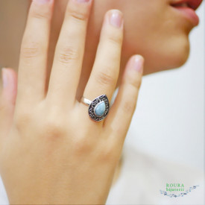 inel argint cu larimar model