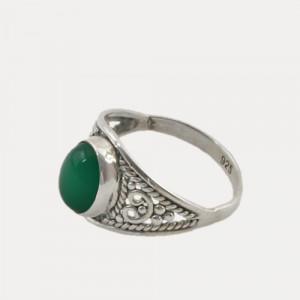 inel de argint cu onix verde
