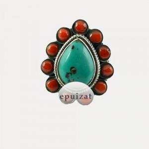 Inel de argint cu turcoaz tibetan și coral Menuet