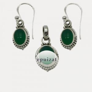 Set cercei si pandantiv de argint cu onix verde Aguna