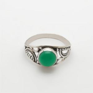 Inel de argint cu onix verde Hin