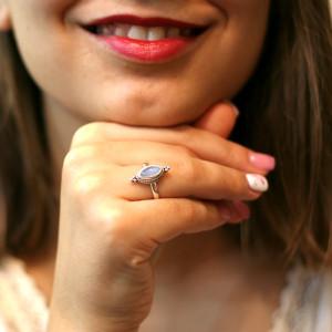 Inel argint cu piatra lunii Bali