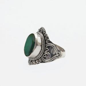 inel argint smarald India