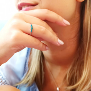 Inel argint cu cinci pietre de turcoaz