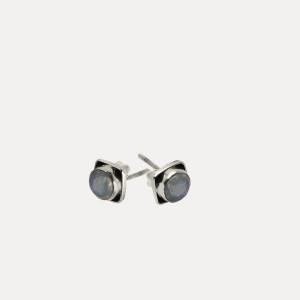 Cercei de argint cu piatra lunii Ḍrapa