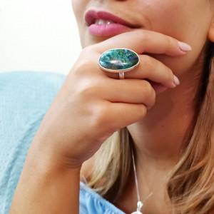 Inel argint cu azur-malachit
