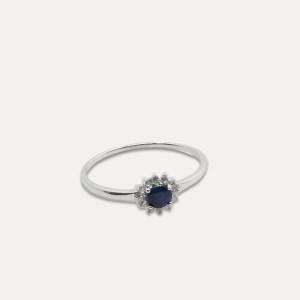 Inel de argint cu safir și zirconii Blue