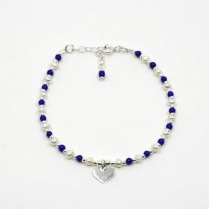 Brățară de argint cu lapis lazuli și perle Stellata