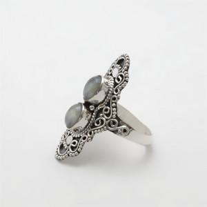 inel argint cu rădăcină de acvamarin
