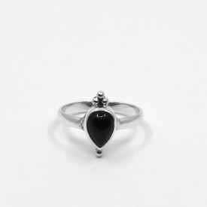 Inel de argint cu onix negru Inka