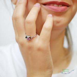 inel de argint cu trei turmaline