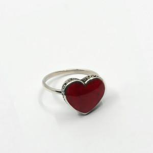 Inel de argint cu coral Inima
