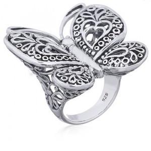 inel de argint fluture