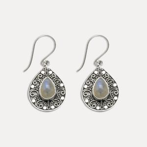 Cercei de argint cu piatra lunii Maand