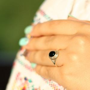 inel argint onix negru