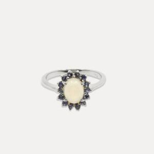 Inel de argint cu opal și tanzanit Amo
