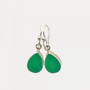 Cercei de argint cu onix verde Tibra