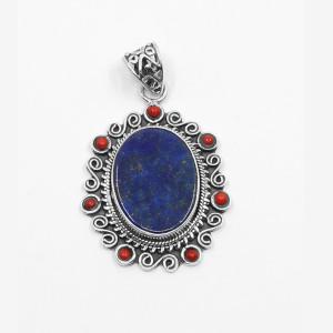 Pandantiv de argint cu lapis lazuli și coral Atmara