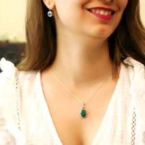 Pandantiv argint cu smarald