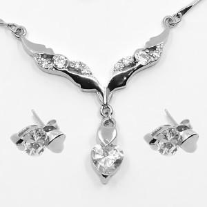 Set cercei și colier de argint cu zircon alb Aroha