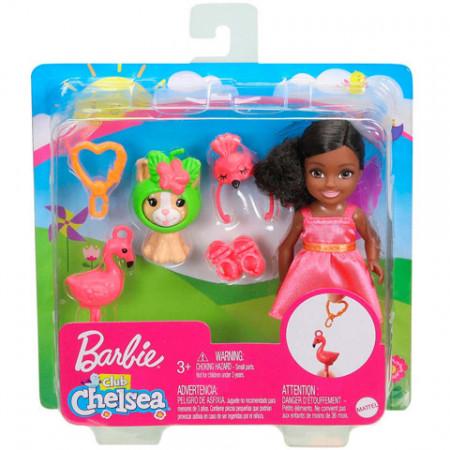 Set papusa Chelsea bruneta cu flamingo Barbie Club Chelsea