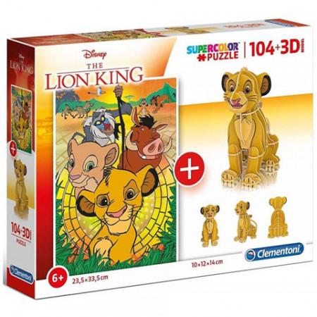 Puzzle Lion King + Puzzle 3D Clementoni 104 piese