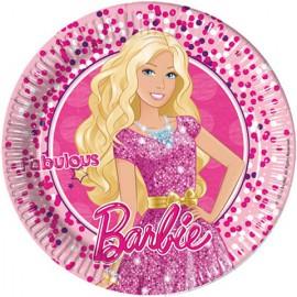 Set 8 farfurii de unica folosinta 23 cm Fabulous Barbie