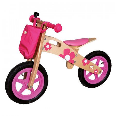 Bicicleta fara pedale din lemn  roz cu flori