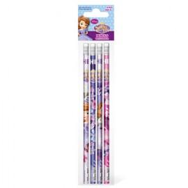Set 4 creioane grafit cu radiera Printesa Sofia