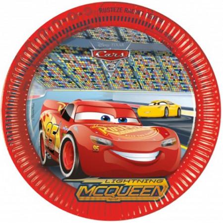 Set 8 farfurii de unica folosinta Fulger McQueen Cars 3 23 cm