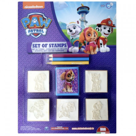 Set creativ 5 stampile si 3 creioane colorate Skye si Everest Patrula Catelusilor