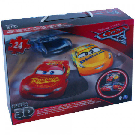 Puzzle 3D Fulger McQueen si Jackson Storm 3 x 24 Cars 3