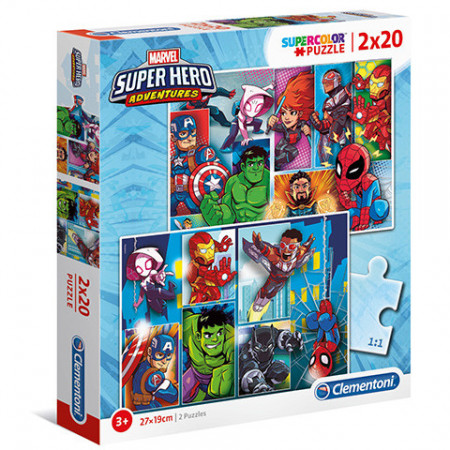 Puzzle Super Hero Adventures Clementoni 2x20 piese