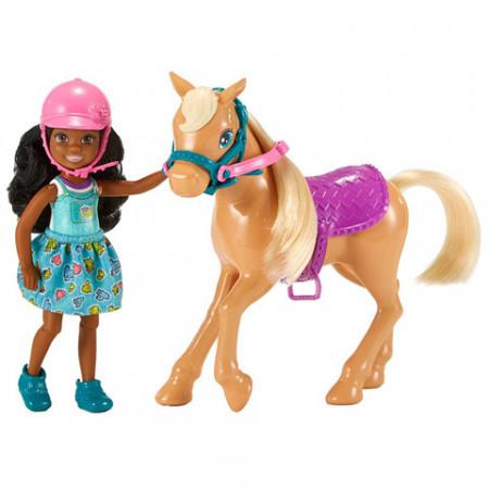 Set papusa Chelsea creola cu ponei Barbie Club Chelsea