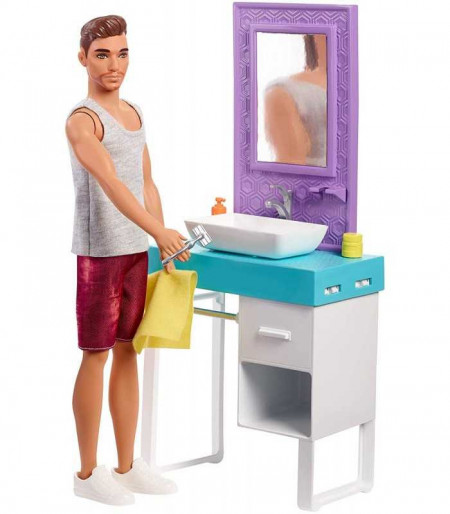 Set papusa Ken si mobilier de baie Barbie Color Reveal