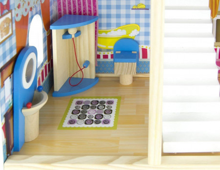 Casuta de papusi din lemn mobilata Bino Toys