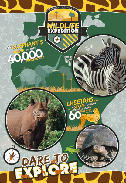 Puzzle Wildlife Expedition National Geographic Kids Clementoni 180 piese