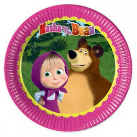 Set 8 farfurii de unica folosinta 23 cm Masha and the Bear