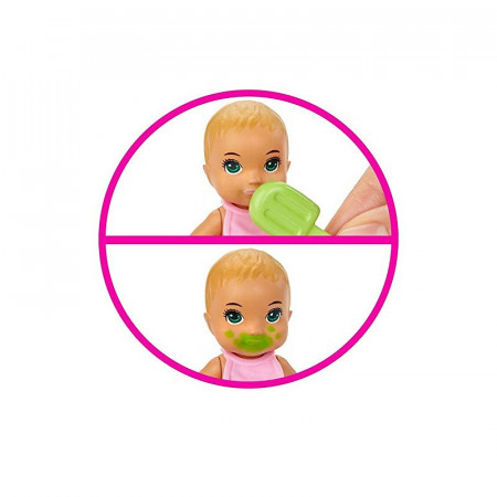 Set papusa bebelus Barbie blond si accesorii Barbie Skipper Babysitter