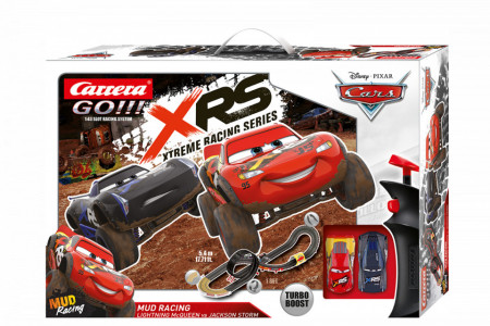 Circuit electric masinute Lightning McQueen si Jackson Storm Mud Nights Cars Carrera Go 5,4 m