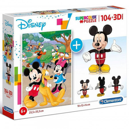 Puzzle Mickey Mouse + Puzzle 3D Clementoni 104 piese