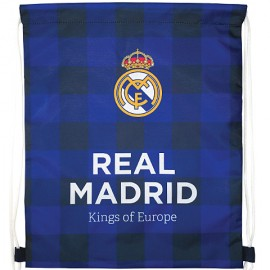 Sac de umar cu snur FC Real Madrid in carouri